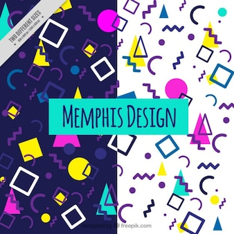 Modern background with shapes in memphis design