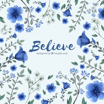 Modern background with  watercolor flowers
