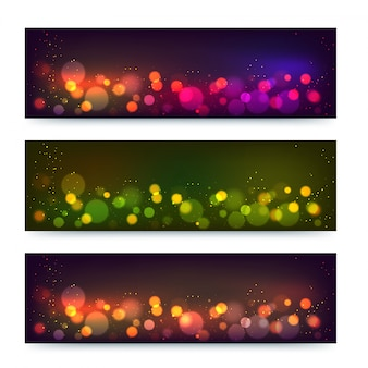 Modern banner or header design with blur bokeh lights.