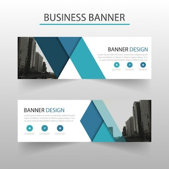 Modern banner with blue geometric shapes