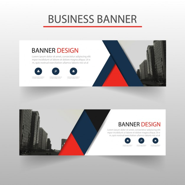 Modern banner with red and blue geometric shapes