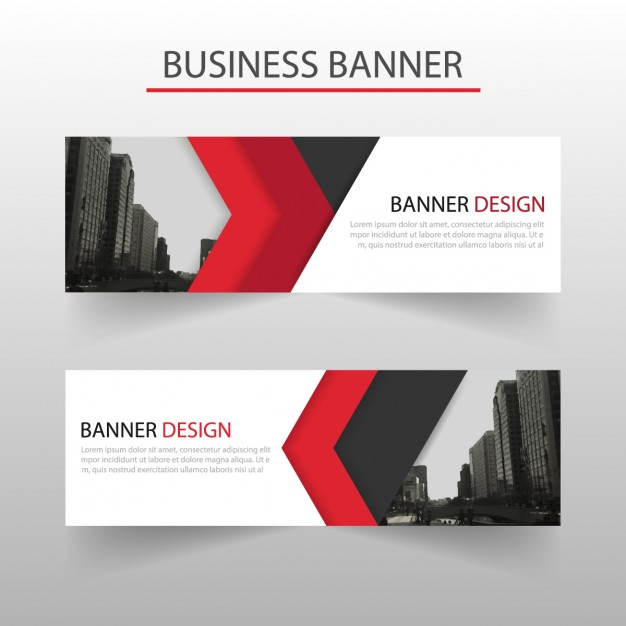 Modern banner with red geometric shapes