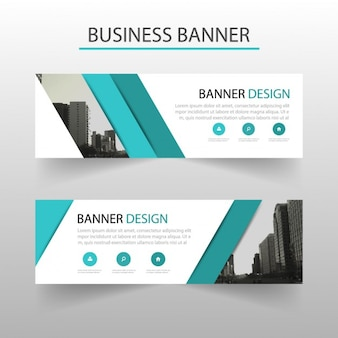 Modern banner with turquoise geometric shapes