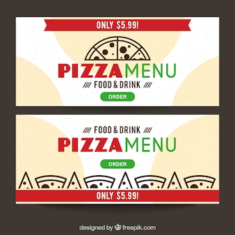 Modern banners of pizzeria