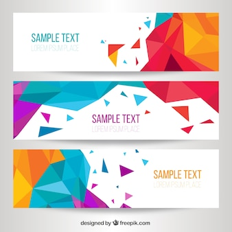Modern banners with geometric shapes set