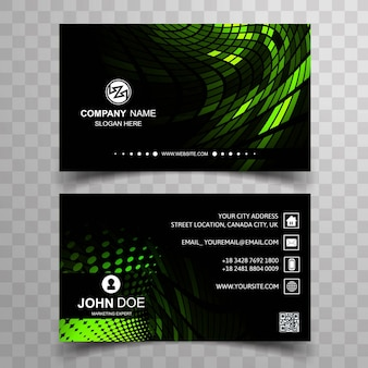 Modern black and green business card