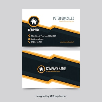 Modern black and orange business card template