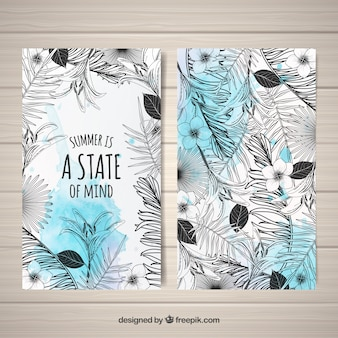 Modern black and white tropical cards