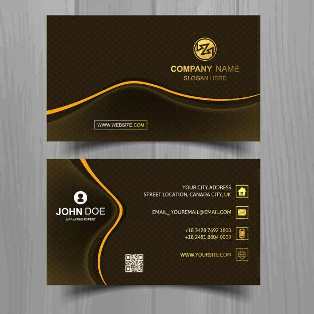 Modern black business card with orange lines