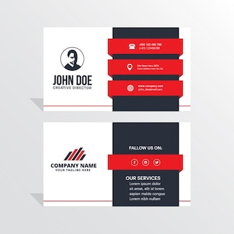 Modern black, white and red business card