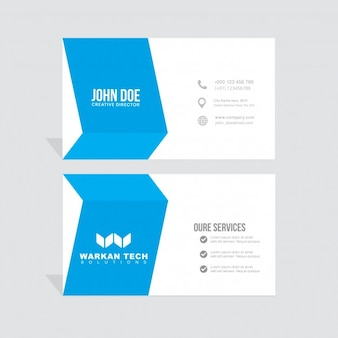 Modern blue and white business card