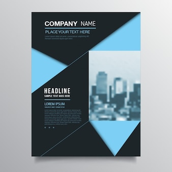 Modern blue brochure with triangles