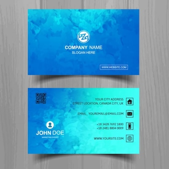Modern blue business card with watercolors