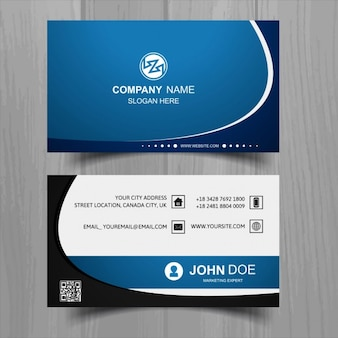 Modern blue business card with wavy shapes