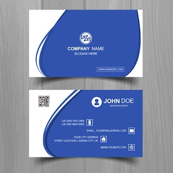 Modern blue business card with white wavy shapes