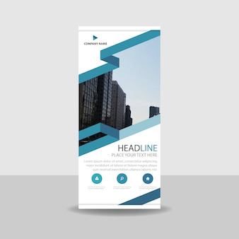 Modern blue commercial roll up banner