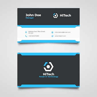 Modern blue corporate business card template
