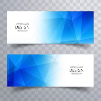 Modern blue polygonal banners