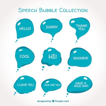 Modern blue speech bubble collection