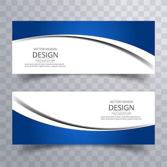 Modern blue wavy banners