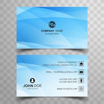 Modern blue wavy business card