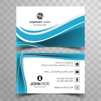 Modern blue wavy business card