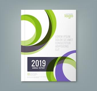 抽象的な円の形の年次報告書の表紙のテンプレート