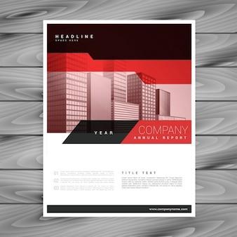 ビジネスプレゼンテーションのための赤いパンフレットのレイアウトテンプレート
