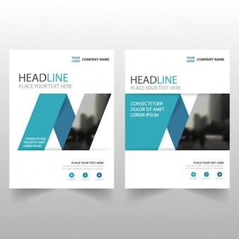Modern brochure template with blue geometric shapes