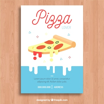 Modern brochure with tasty slice of pizza with cheese