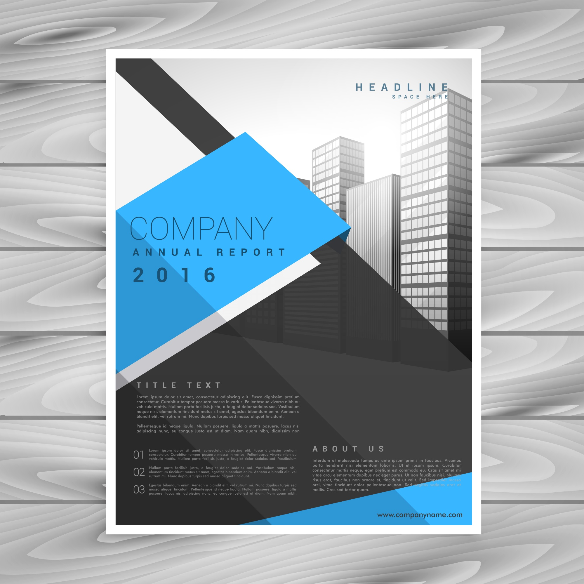 Modern business brochure design template in blue black geometric shapes