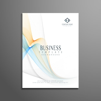 Modern business brochure design with colorful wavy shapes