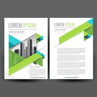 Modern Business brochure template with Blue and Green Geometric
