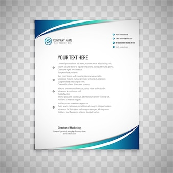 Modern business brochure with blue wavy shapes