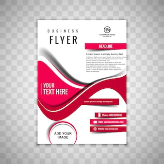 Modern business brochure with red wavy shapes