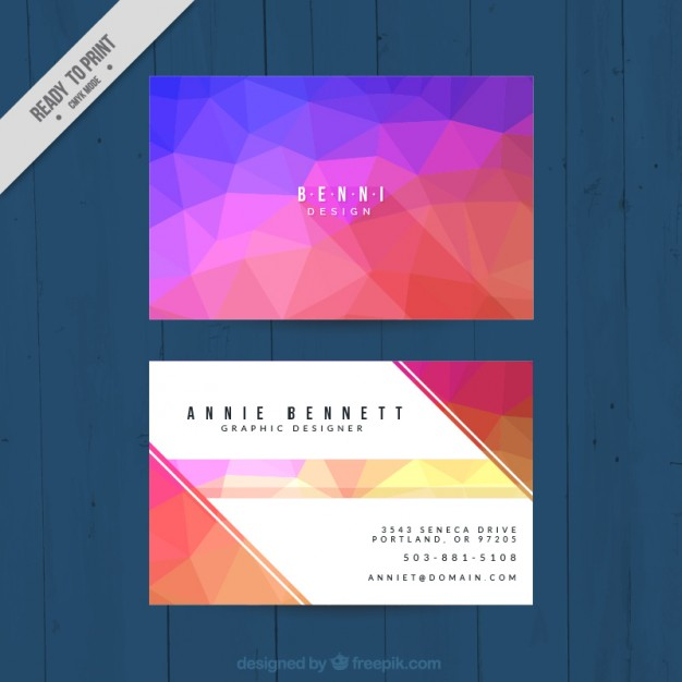 Modern business card in purple and orange tones
