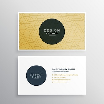 Modern business card with a yellow pattern