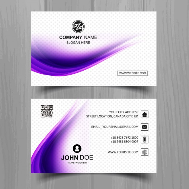 Modern business card with beautiful wavy shapes
