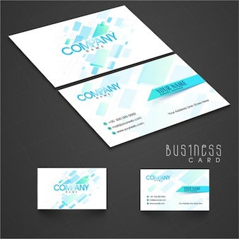Modern business card with blue geometric shapes