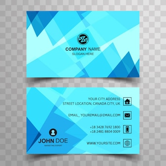 Modern business card with blue polygonal shapes