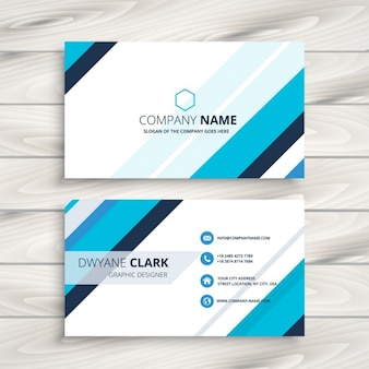 Modern business card with blue stripes