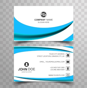 Modern business card with blue wavy shape