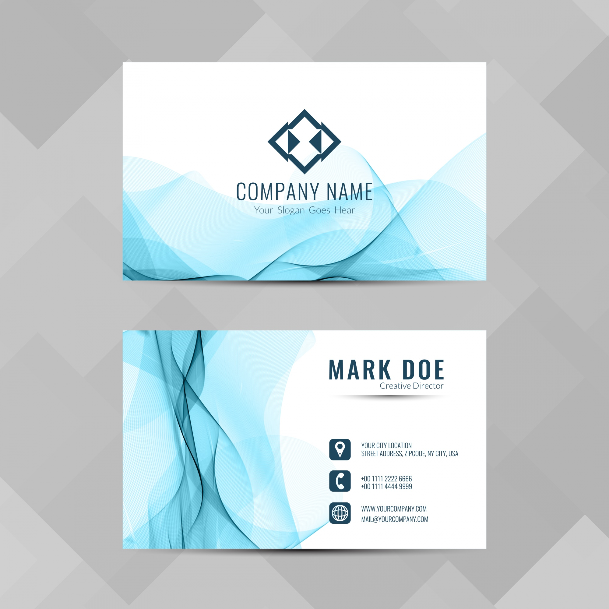 Modern business card with blue wavy shapes