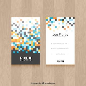 Modern business card with colored squares