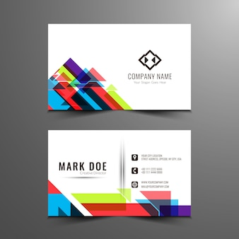 Modern business card with colorful geometric forms