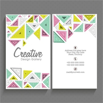 Modern business card with colorful triangles