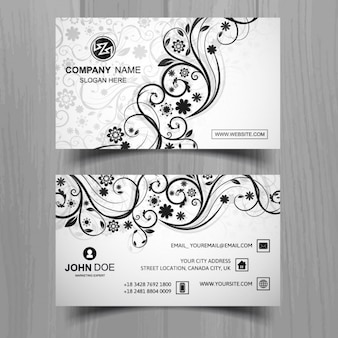 Modern business card with floral shapes