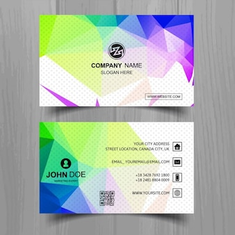 Modern business card with full color polygonal shapes