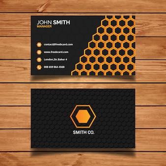 Modern business card with hexagon