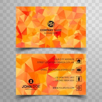 Modern business card with orange polygonal shapes